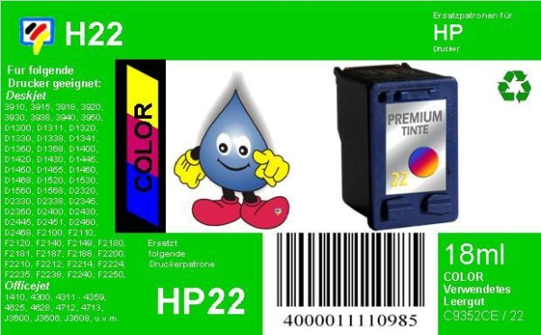 HP22 - SoftwareHexes Recyclingpatrone für C9352CE - color - mit 18ml Inhalt